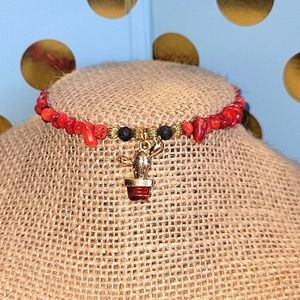 Bamboo Coral Bracelet w/Lava Beads.